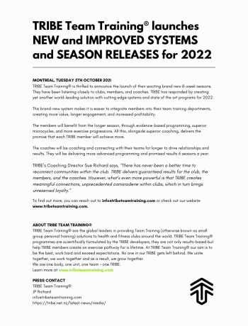TRIBE Team Training® launches NEW and IMPROVED SYSTEMS and SEASON RELEASES for 2022